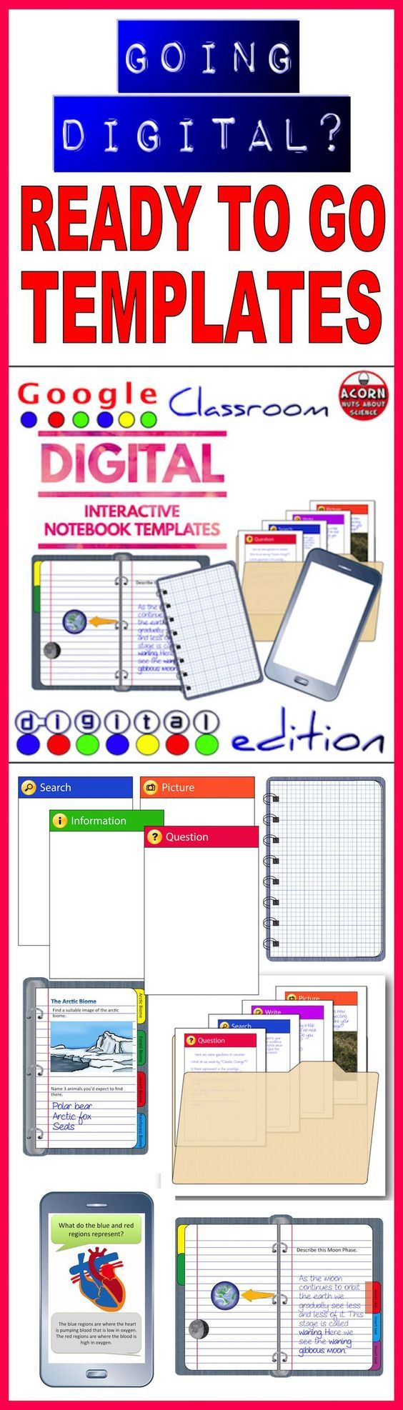 75 pages of digital interactive notebook templates including tabbed organizers, folders and mobile phones. The files are in powerpoint format and come as a zipped file.
