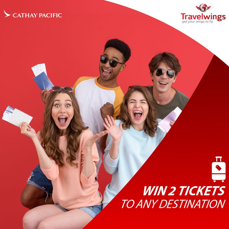 Feeling Lucky? Want to win 2 free return tickets to a Cathay Pacific destination of your choice! Here's how: http://www.travelwings.com/flight-offers/cathay-pacific.aspx