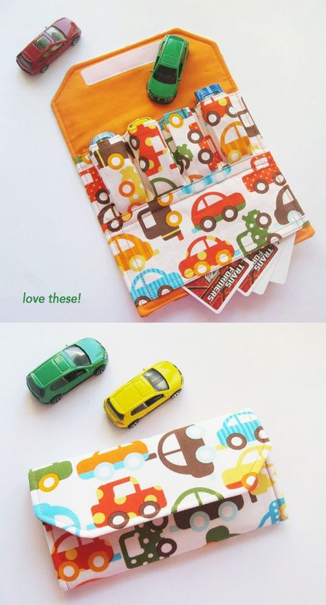 Car wallet. Great idea for traveling anywhere with little boys.--maybe I can get  one of my sisters to make this for me ...since I havent started sewing yet