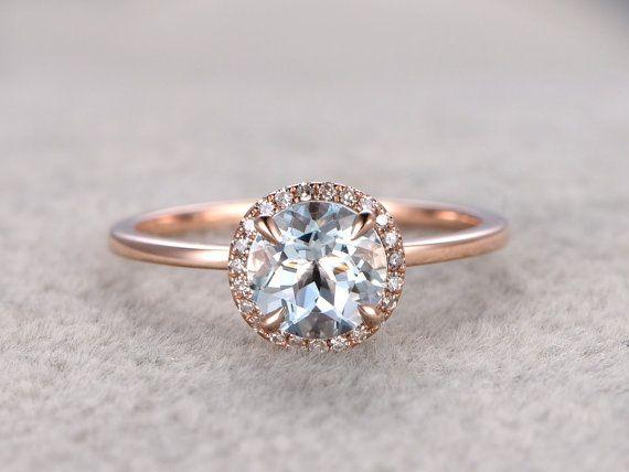 7mm Runde Aquamarine Engagement ring Diamond Wedding von popRing