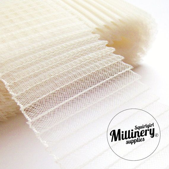 3 1/4 Inch Wide Pleated Crinoline (Crin, Horsehair Braid) for Millinery, Hats and Fascinators - Ivory: