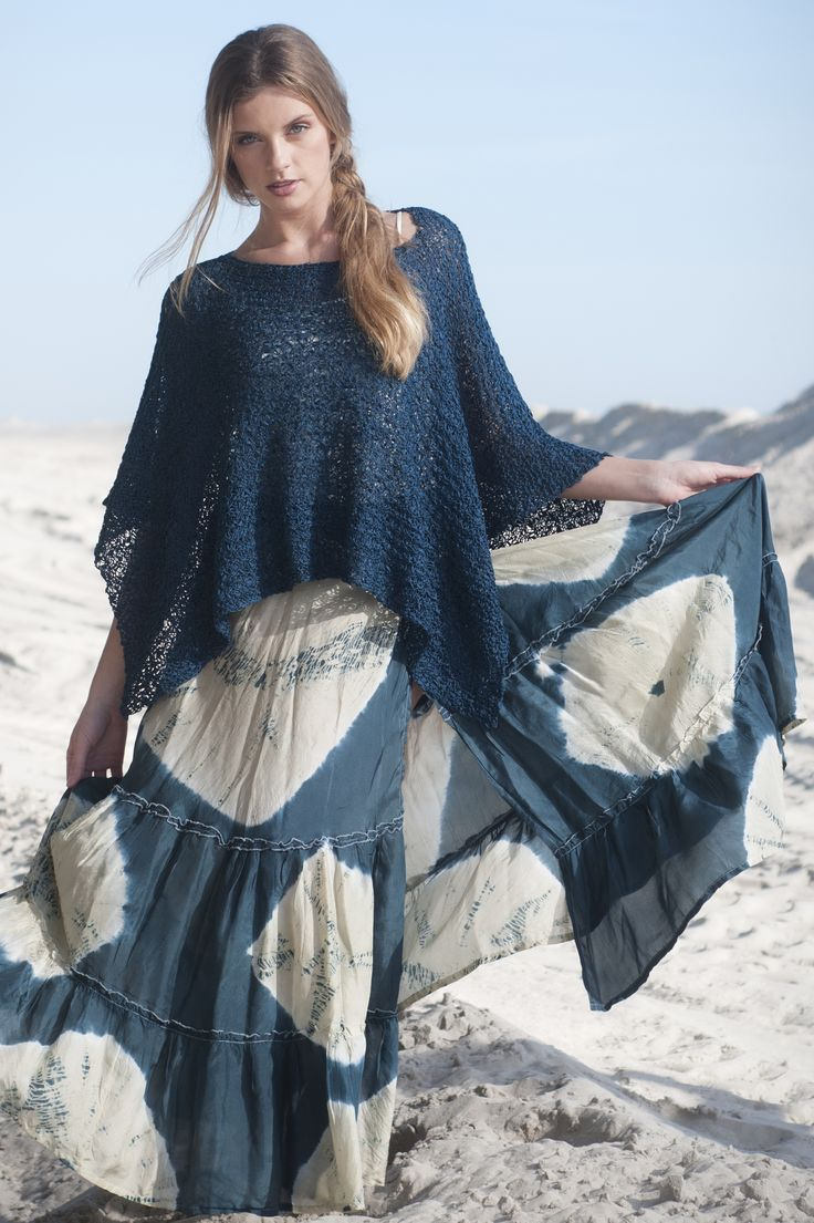Long Beach Poncho Top in RIPPLE: A combination of a simple stitch pattern and textural RIPPLE yarn make this rectangular poncho a spectacular fashion statement. Available in sizes S/M (L/XL, 2X/3X)