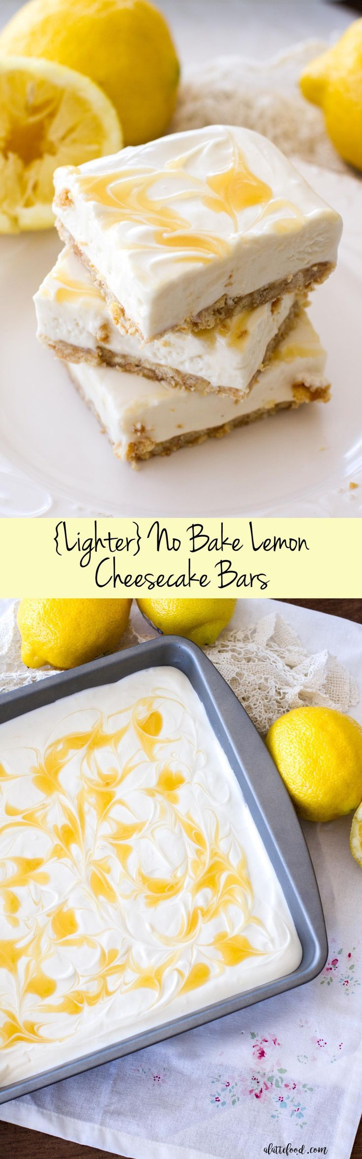 This no bake lemon cheesecake recipe is simple, full of lemon flavor, and lighter than a traditional cheesecake recipe, making it the perfect summer dessert!