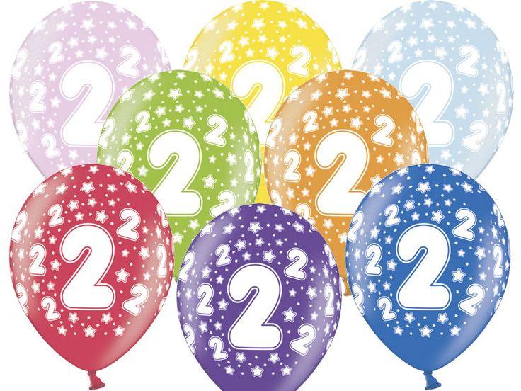 """Balon lateksowy 14"""" (37 cm) z dwustronnym nadrukiem """" Cyfra 2"""". Doskonała dekoracja na przyjęcie z okazji drugich urodzin dziecka.  Balony wykonane są z najwyżej jakości lateksu dzięki, czemu świetnie nadają się do wszelkiego rodzaju dekoracji."""