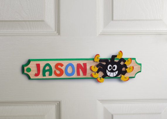 Spider Personalised  Name Plaque Wooden Door Sign by gandobambino