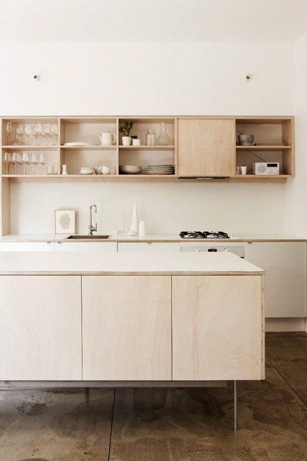 Plywood kitchen. Shelf.