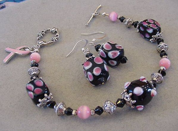 Breast Cancer Awareness bracelet and Earrings Set Black Pink Bracelet Earrings Pink and Black Bumpy beads bracelet by Magicclosetbling on Etsy