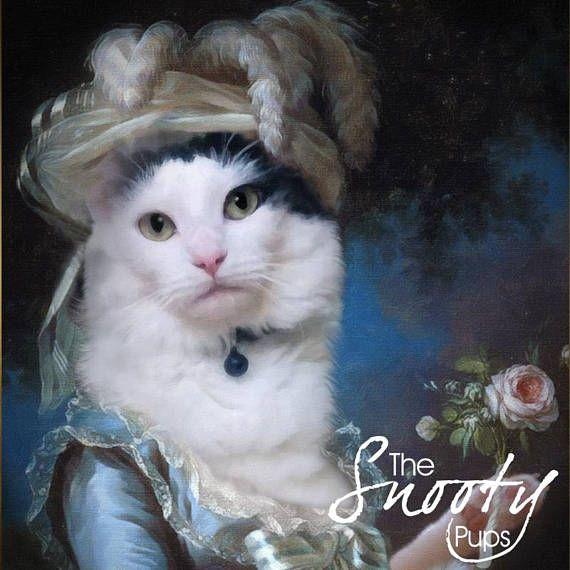Portrait from photo Pet Portrait Custom CAT PORTRAIT Marie Antoinette