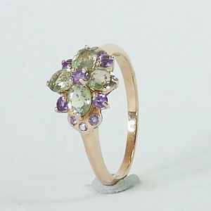0.72 CTs.Genuine Green Sapphire & Amethyst in Gold Plated over Silver Ring Size:P-7.5        RI205