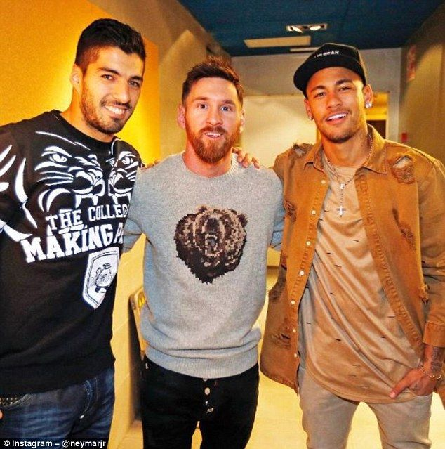 Suarez, Messi and Neymar are pictured in an image shared by the Brazilian