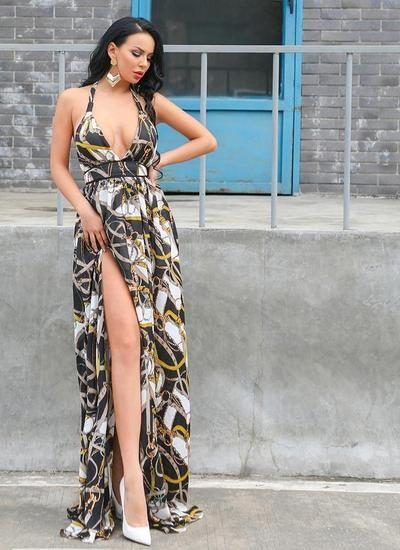 2c8f3247e10be Missord 2019 Women Summer Sexy Deep V Off Shoulder Backless Dresses Female  Two Split Beachwear Maxi Print Dress FT18860
