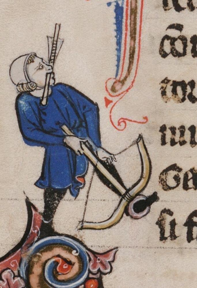 Mann mit Armbrust, BeineckeMS.229 Arthurian Romances, fol. 132v, 1275-1300, Frankreich.
