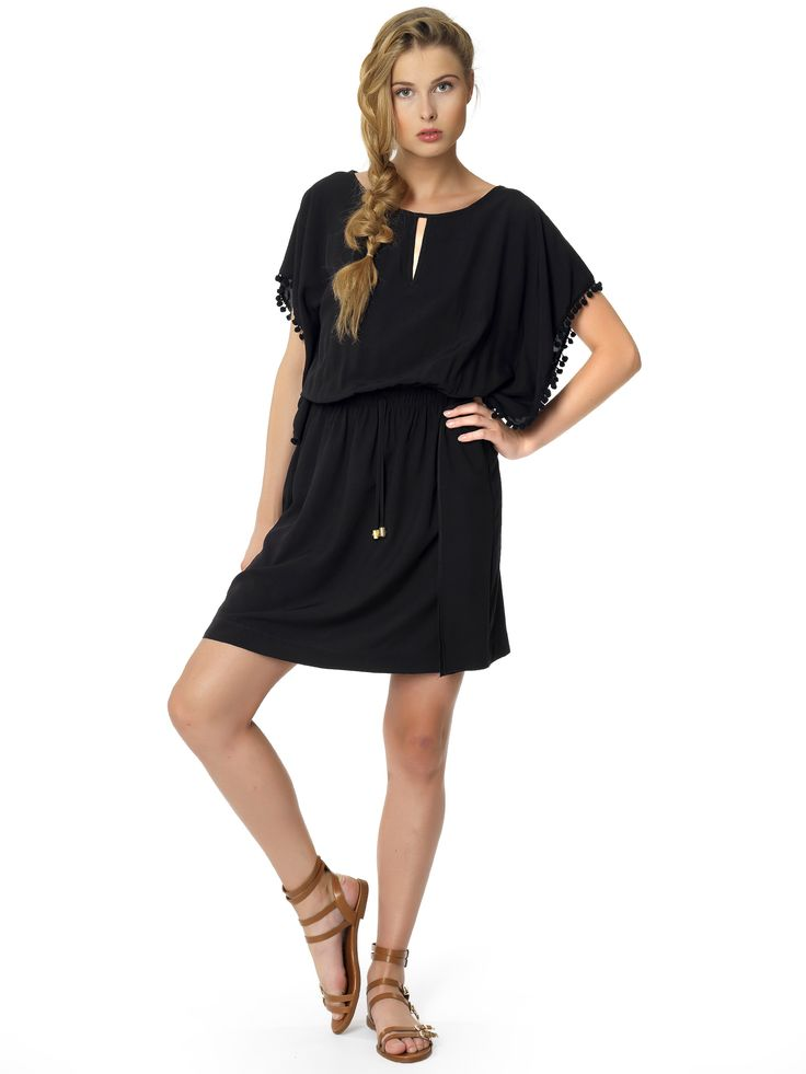 Regalinas pom pom trim kaftan dress