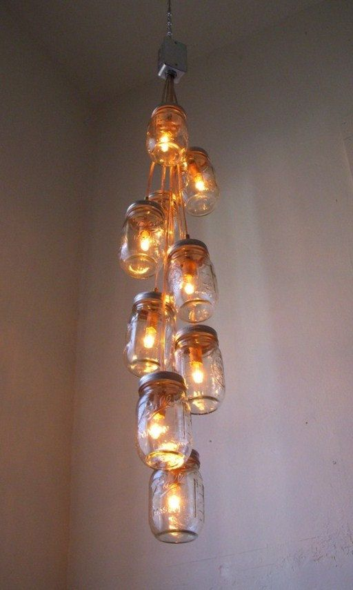 Mason Jar Chandelier Mason Jar Lighting Hanging Pendant Fixture Lights - Rustic UpCycled Wedding Eco Friendly Gift Original BootsNGus Design