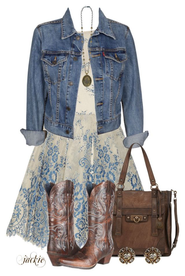 """Dress and Cowboy Boots 2"" by jackie22 ❤ liked on Polyvore featuring Alice + Olivia, Levi's, Frye, Ariat, Oscar de la Renta, contest, denimjacket, CasualChic, cowboyboots and totes"