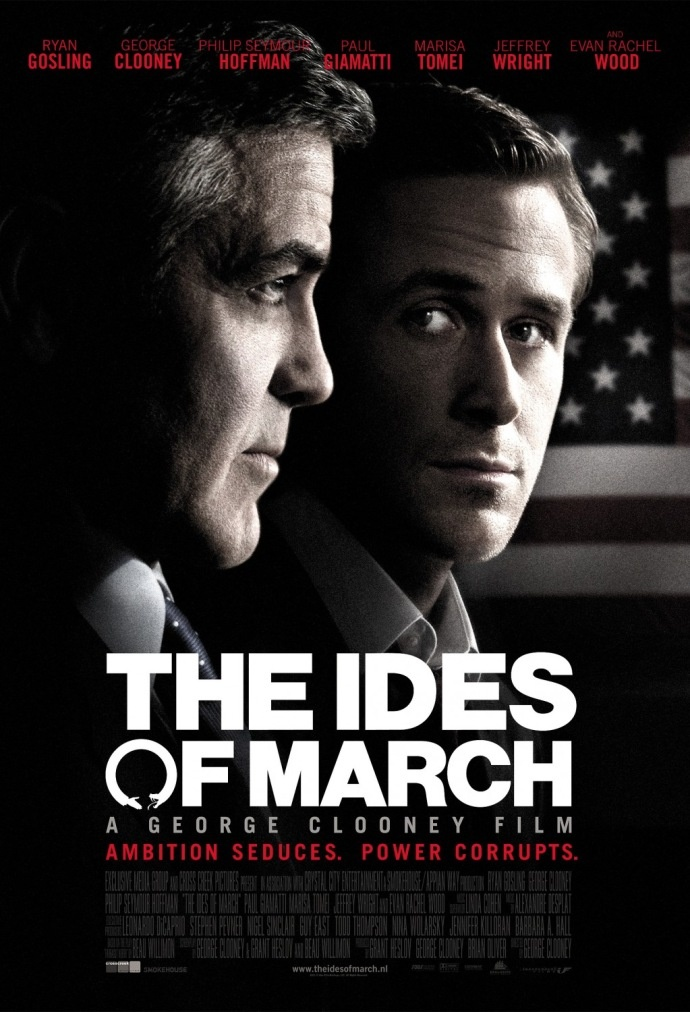 'The Ides of March' with George Clooney, Ryan Gosling, Marisa Tomei & Evan Rachel Wood.   http://www.imdb.com/title/tt1124035       -------      The ending is FANTASTIC!