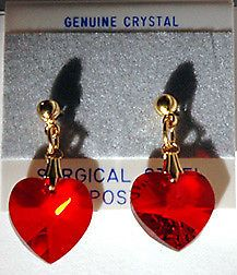 RED Heart Dangle Earrings 6228-18mm Made with Swarovski Austrian Crystals  | eBay