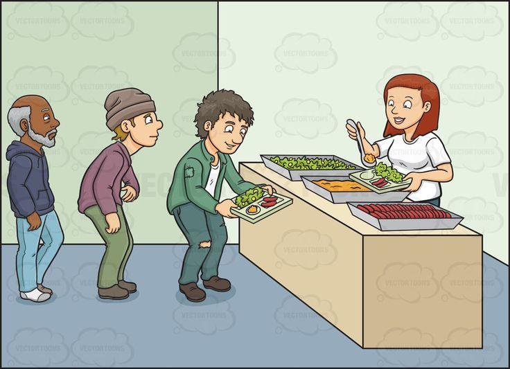 A female volunteer in a feeding program #cartoon #clipart #vector #vectortoons #stockimage #stockart #art