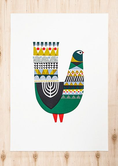 Illustration | Metsälintu, silk screen print designed and hand printed by Sanna Annukka // #bird #folk Art #pattern
