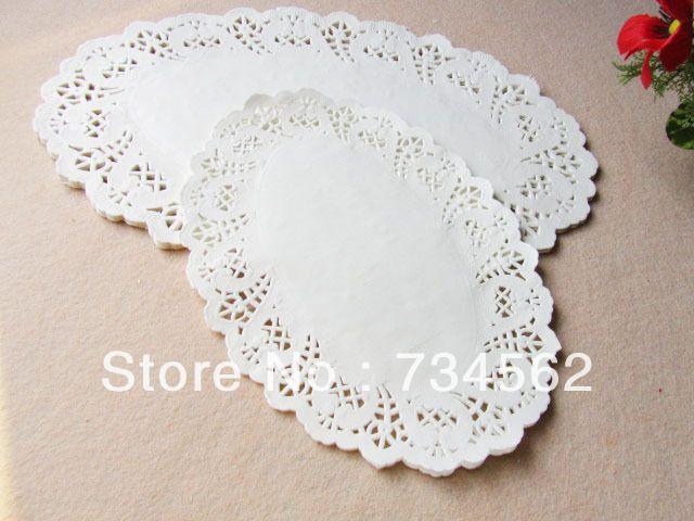 Wholesale 19X26cm White Ellipse Shaped Paper Lace Doilies,Paper Doily Cake Doilies ,Paper Placemat,Free shipping 300pcs/lot US $31.00