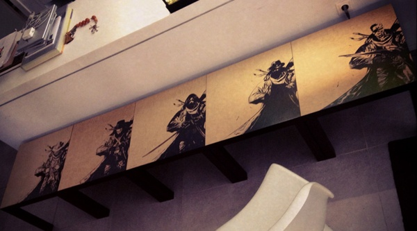 warriors by teokon , via Behance  #woodcuts #gunslinger #V #Vendetta #ninja #invisibleman #terminator #arnold