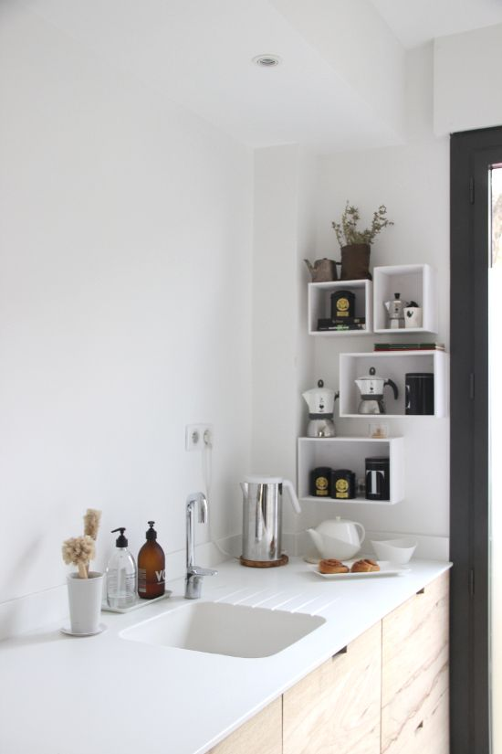 minimal kitchen in white and raw wood ilariafatone