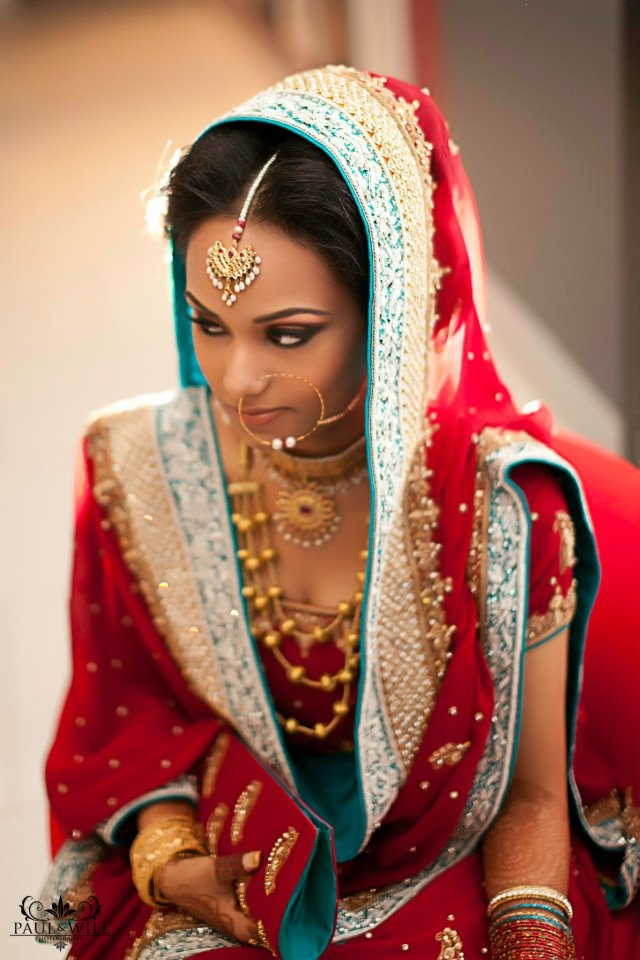 Red gold and blue bridal outfit lengha
