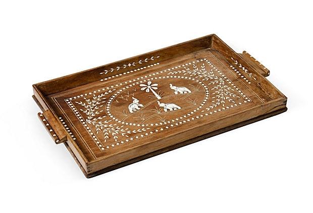 Bone-Inlaid Wood Tray