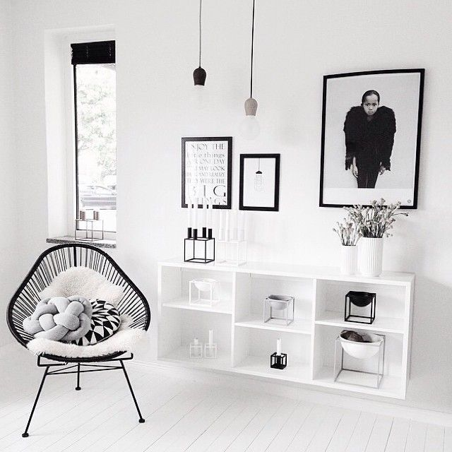 Tips for a Scandinavian style decoration to remember: the mix black, white and gray