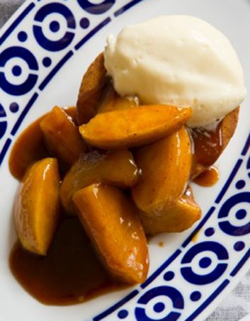 Simple Breton pastry makes a lovely spongy base for these salted caramel apples. The spicy apple flavour works well with the French pastry's buttery richness. Recipe from Frank Camorra.
