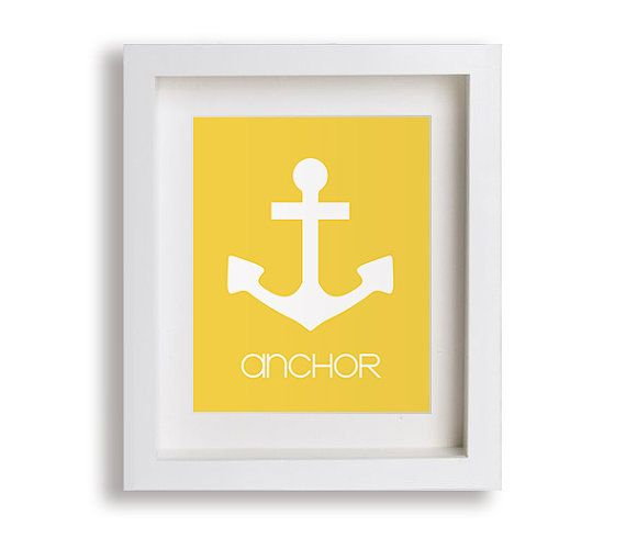 Anchor dzieci Reprodukcja - Nautical Przedszkole Decor, Nowoczesny Przedszkole sztuki, pokój dziecięcy, dla dzieci Sypialnia, Małe dziecko, chłopak, dziewczyna, grafika, Bawialnia