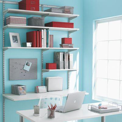 White & Platinum Elfa Office Shelving