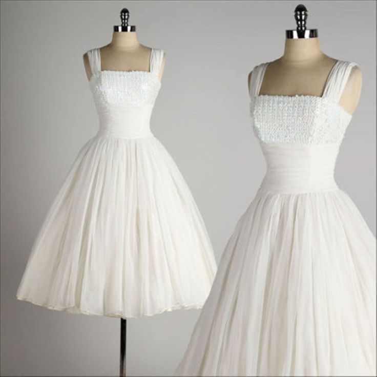 Vintage 1950 Style Wedding Dresses Ball Gown Tea Length Short Little White Dress in Clothing, Shoes & Accessories, Wedding & Formal Occasion, Wedding Dresses | eBay