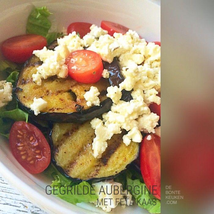 DeBonteKeuken: Gegrilde aubergine met feta..  (Grill, grillplaat, makkelijk, simpel, snel, recept, aubergine,  paprikapoeder, knoflook, cherrytomaten, tomaat, feta kaas,  balsamicoazijn, verse kruiden, munt, bijgerecht, avondeten, maaltijd, couscous)