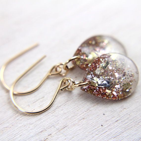 grey teardrop earrings with rose gold and gold glitter on gold earwires - silver and gold drop earrings on Etsy, $24.00