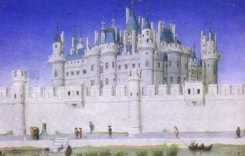 Le Louvre à la fin du Moyen-Age.-  L'église accuse d'hérésie Jean I° de Parthenay-L'archevêque mais au final il est absous. Il poursuit la même politique pro-française que son père, il participe aux assemblées roayles au Louvre,à Paris, ce qui traduit son intégration dans le Royaume de France. En 1327, il est conseiller du roi de France Charles IV le Bel qui le charge de la défense de l'Aunis et de la Saintonge contre les invasions des Anglais et Gascons à partir de leurs bases en Guyenne.