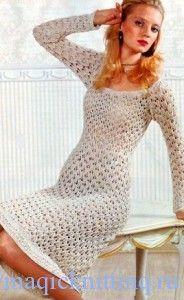Ажурное вязаное платье спицами схема