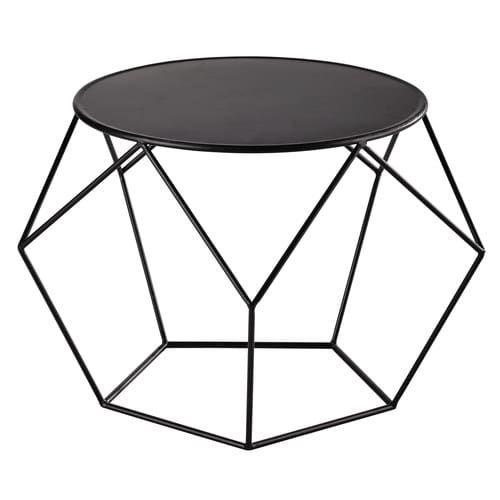 Tavolo basso rotondo nero in metallo D 64 cm