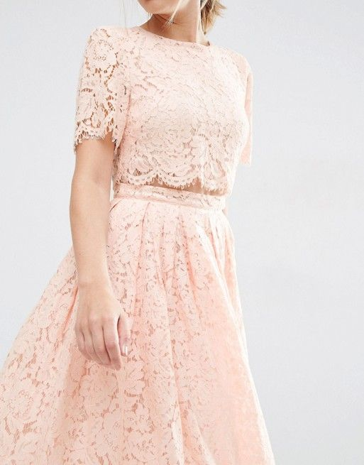 ASOS ~ ~ Lace Crop Top Midi Dress in Blush Pink with a round neck, above-elbow sleeves, and a midi length (definitely trip free!)  From US.ASOS.com