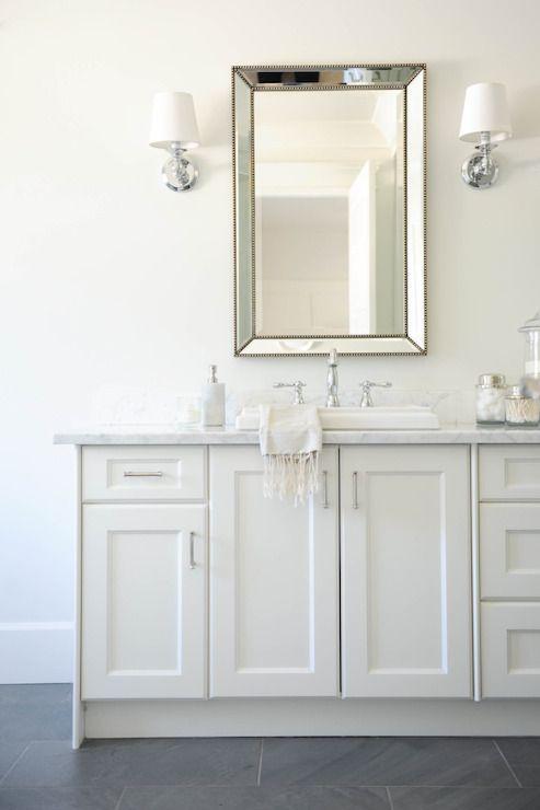 Tracey Ayton Photography - bathrooms - slate floors, slate tiled floors, gray tile floors, white sink vanity, white sink console, shaker fro...