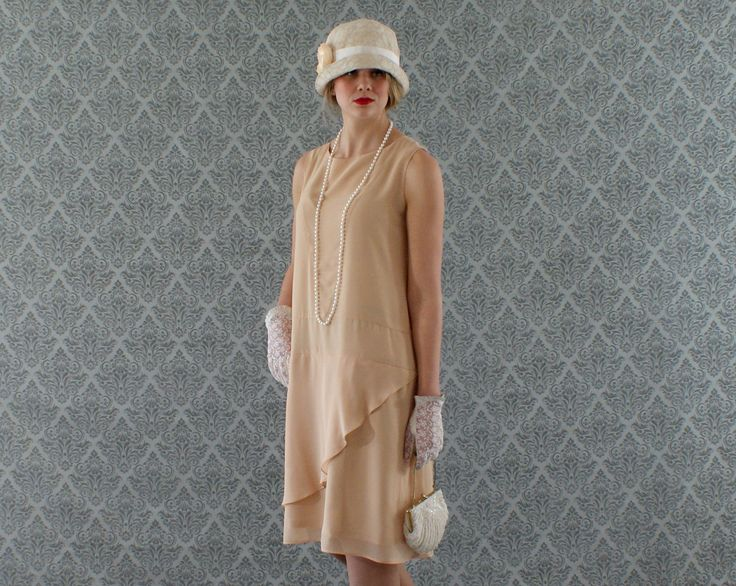 Neat dark beige flapper dress with a ruffled skirt detail, Great Gatsby dress, 1920s flapper dress, robe Downton Abbey, 20s dress, tea dress by HouseOfRecollections on Etsy https://www.etsy.com/listing/180103837/neat-dark-beige-flapper-dress-with-a