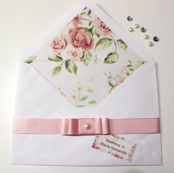 Convite de Casamento Faça Você Mesmo Envelope Estampado 09