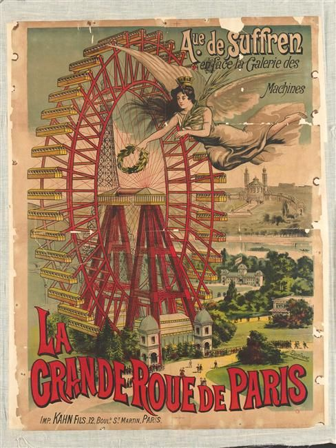"""Le Grande Roue de Paris"" colour lithograph, circa 1900-1923"