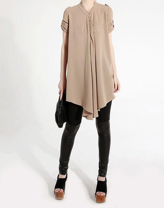 Chiffon shirt J024 long sleeves beige loose fit casual por JulyS