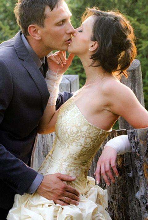 Arany csipkés esküvői ruha, Szabovszki, meska.hu #gold #lace #bridal #dress