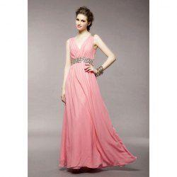 $20.38 Elegant V-Neck Rhinestone Embellished Zipper Up Flouncing Hem Sleeveless Polyester Dress For Women