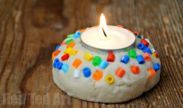 simple saltdough crafts – votives for Diwali or Christmas