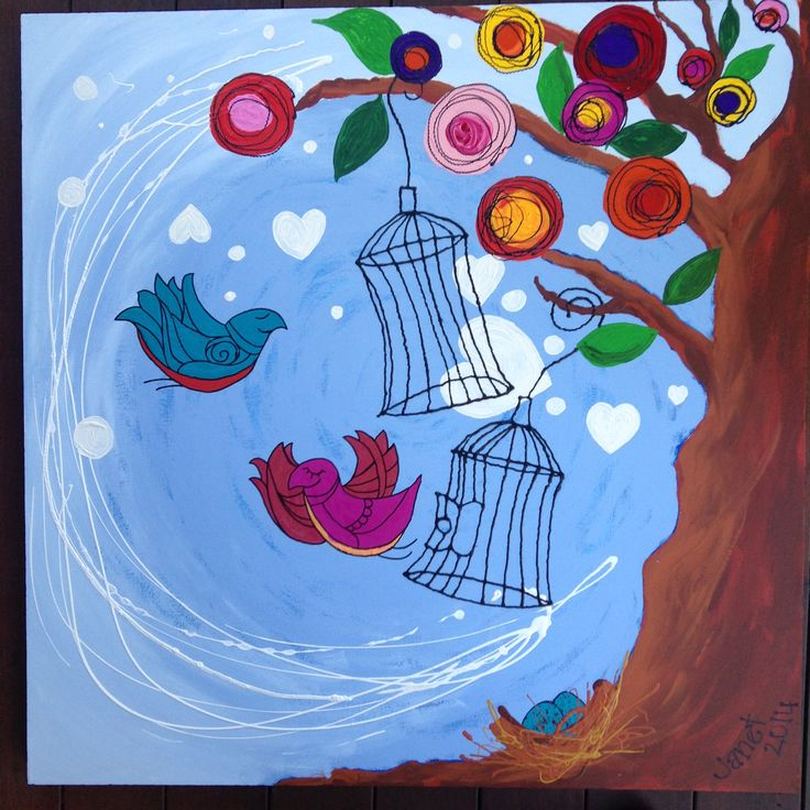 #canvass #painting #acrylics #birds #cages #tree #whimsical #JanetBailey #flowers