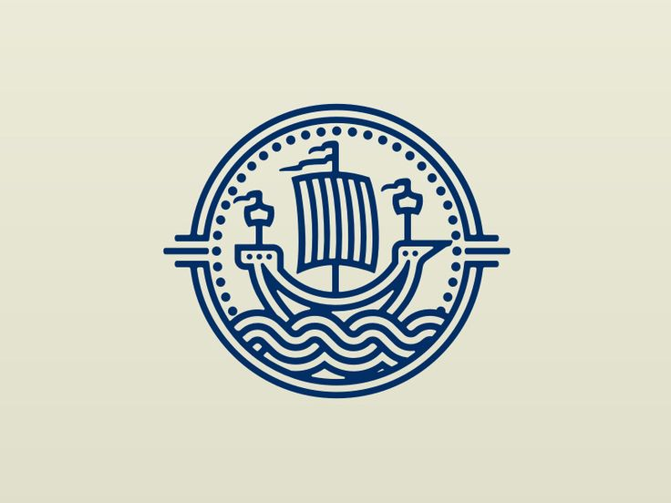 Inspired by the way ships were once portrayed in heraldry design. Logo design ship badge waves