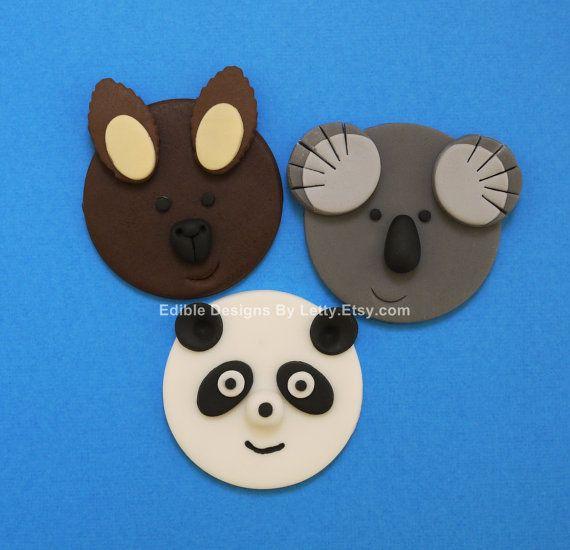 12 Edible Fondant Australian Animals Cupcake Toppers - Kangaroo, Koala & Panda. $22.00, via Etsy.